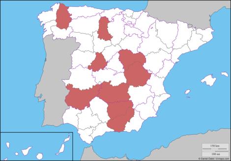 Mapa con las provincias sin estrella Michelin 2017