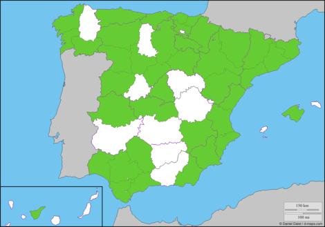 Mapa con las provincias con alguna estrella Michelin 2017