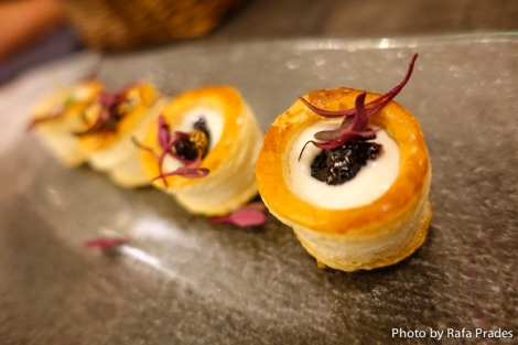 Prepostre de queso gorgonzola y mermelada de vino tinto Dehesavieja