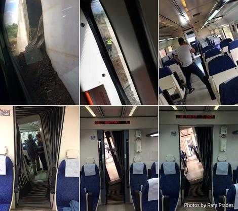 Interior del tren 17907 descarrilado