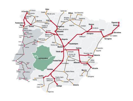 Mapa de trenes de alta velocidad y larga distancia